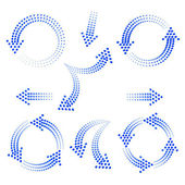Set of blue arrows from circles — Stock Vector