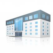School building with reflection and input — Stock Vector