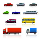 Set of different cars with reflection — Stock Vector