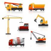 Icon construction equipment  crane, scoop, mixer with reflectio — Stock Vector