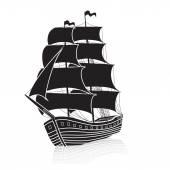 Vintage sailing ship at sea with reflection — Vetor de Stock