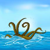 Mythological kraken tentacles with the sea — Stock Vector