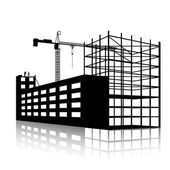 Silhouette of the crane and building under construction — Stock Vector