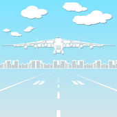 Paper silhouette aircraft flying in the sky  — Stock Vector