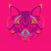 Awesome portrait of cat — Stock Vector