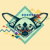 Colorful portrait of a cat. Creative illustration — Cтоковый вектор
