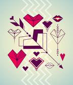シンボルのバレンタインの日セット — ストックベクタ