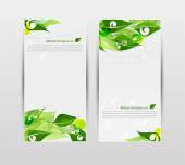 Set of banners with fresh green leaves — Stock Vector