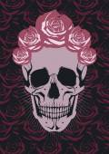 Skull with flowers Day of The Dead — Stock Vector