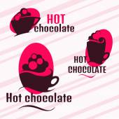 Set of icons of hot chocolate. Vector design elements — Stock Vector