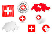Set of flags, maps etc. of Switzerland - isolated on white — Stock Vector