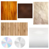 Set of realistic textures - wood, leather, paper, metal — Stock Vector