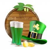 Wooden barrel, hops, green hat, green beer and golden coins — Stock Vector