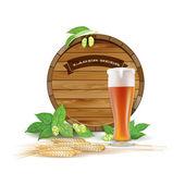 Wooden barrel, glass of beer, hops and barley — Stock Vector