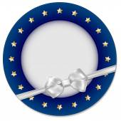 Christmas badge with golden stars and silver bow — Stock Vector