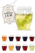 Set of homemade jam in jars — Stock Vector