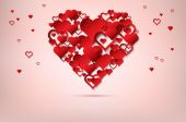 Valentines day background with abstract hearts — Stock Vector