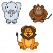 Elephant, monkey and lion - the style of childrens drawings — Stock Vector #72506877