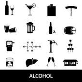 Alcohol icons set eps10 — Stockvektor