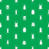 Bugs and beetles simple seamless green pattern eps10 — Stock Vector
