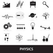 Physics icons set eps10 — Stock vektor