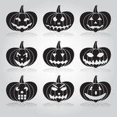 Halloween carved pumpkins set eps10 — Stock Vector