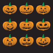 Orange halloween carved pumpkins set eps10 — Stock Vector