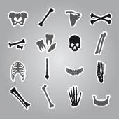Human bones stickers set eps10 — Stock Vector