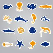 Fish and sea life stickers set eps10 — Stock Vector