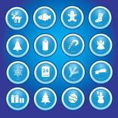 Christmas icons in blue circles collection eps10 — Vector de stock