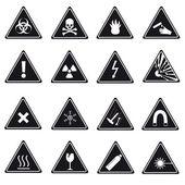16 danger signs types eps10 — Vector de stock