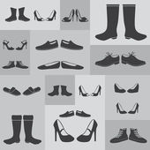 Black boots and shoes on gray background eps10 — Wektor stockowy
