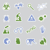 Biology stickers set eps10 — Stock Vector