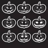 Black halloween carved pumpkins stickers eps10 — Stock Vector