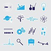 Physics stickers set eps10 — Stock Vector