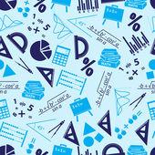 Mathematics icons blue seamless pattern eps10 — Stock Vector