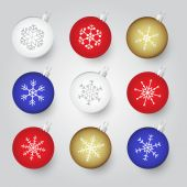 Colorful christmas baubles with snowflake ornament eps10 — Stock Vector