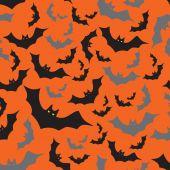 Bat seamless dark and orange autumn halloween pattern eps10 — Stock Vector