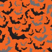 Pipistrello senza giunte scuro e arancio autunno halloween modello eps10 — Vettoriale Stock