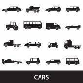 Simple cars black silhouettes icons collection eps10 — Stock Vector