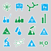 Chemistry color stickers set eps10 — Stock Vector