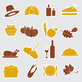 Thanksgiving stickers color set eps10 — Stock Vector