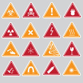 16 color danger signs types stickers eps10 — Stock Vector