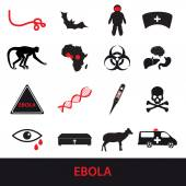 Ebola disease icons set eps10 — Stock Vector