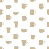 Mugs and cups simple silhouette icons pattern eps10 — Stock Vector