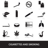 Smoking and cirarettes simple black icons set eps10 — Stock Vector