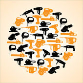Power tools black and yellow icons in circle eps10 — 图库矢量图片