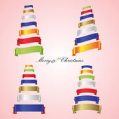 Merry christmas trees from color ribbon banners eps10 — Stock Vector