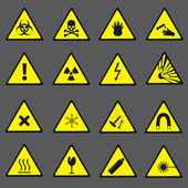 Yellow and black danger and warning signs set eps10 — Stock Vector