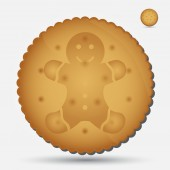Christmas brown biscuit with gingerbread symbol eps10 — Vetor de Stock